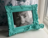 Teal motorcycle picture frame
