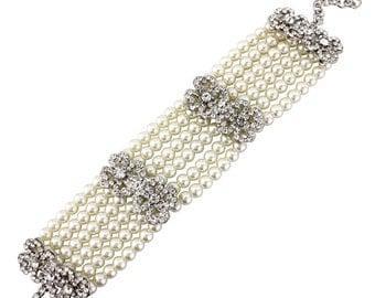 Lillian Pearl and Crystal Bracelet, Pearl Bridal Bracelet