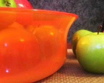 Hand Blown Yellow and Red Glass Fruit Bowl / Fruitschaal Art
