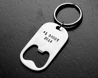 Fathers Day Gift Personalized Keychain Bottle Opener for Dad