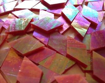 Mosaic Tiles - 100 Small Diamonds - Iridescent Pomegranate Sunset Stained Glass - Hand-Cut