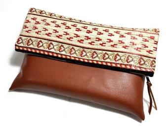 Ethnic Style Foldover Clutch - Tribal Clutch Purse - Navajo Bag - Tablet Bag - Kilim Bag - Boho Clutch - Terracotta, Cream - Evening Clutch