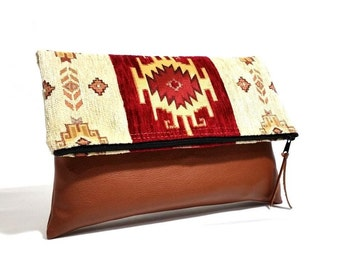 Ethnic Style Foldover Clutch - Tribal Clutch Purse - Navajo Bag - Tablet Bag - Kilim Bag - Boho Clutch - Red, Cream, Gold - Evening Clutch