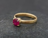18k Gold Ruby Ring - Made to Order Ruby Engagement Ring - Solitaire Ruby Ring - Pink Gem Engagement - Claw set Ruby Ring - FREE SHIPPING