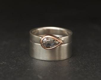Pear White Topaz Wedding Set - White Topaz Engagement Ring and Matching Wedding Band - Handmade Wedding Set - Made to Order - FREE SHIPPING