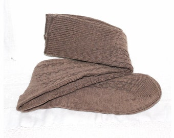 Vintage chocolate brown wool sox. Ladies socks medium size. slouch sox Walking boot sox