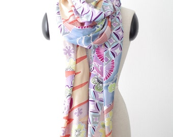 Japanese scarf, hand painted Japan kimono style fabric. Extra large shawl or pareo sarong wrap. Beachwear swimsuit cover up beach towel wrap