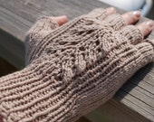 M Tan Knit Fingerless Gloves, Recycled Cashmere/Cotton Yarn, Eco-Friendly Luxury