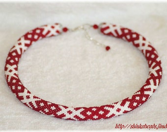 Ethnical ornament bead crochet necklace white and BRIGHT red handmade unique OZOLINS