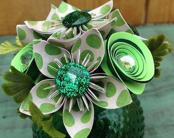 Green Polka Dot Mini Paper Flower Arrangement in Green Glass Hobnail Vase