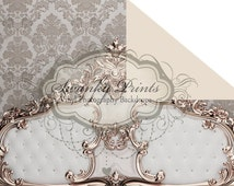NEW ITEM / 7ft x 5ft REVERSIBLE Vinyl Backdrop / Double sided / Solid light cream and Headboard