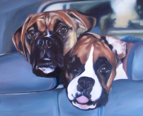 Custom Pet Portrait - Oil Painting - Rottweilers - 9x12