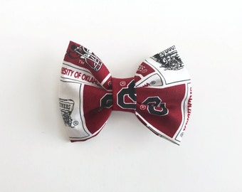 HAIR BOW for girls // University of Oklahoma Sooners Inspired Hair Bow // French Barrette Hair Bow // Team Hair Bow