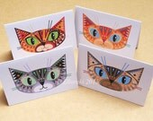 Four Cats folded gift tags pack of 4 peel-off tags