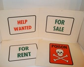 Lot of 4 Vintage Flashcard Road Signs