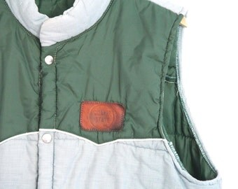 Vintage Mens Swingster Puffer Vest Quaker State Green Two Tone Extra Large 1980s Rare