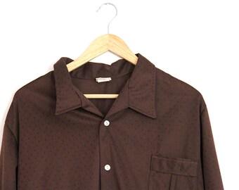 Vintage Mens Shirt Polyester Disco Stuart Mann of California Brown Diamond Pattern Extra Large 1970s