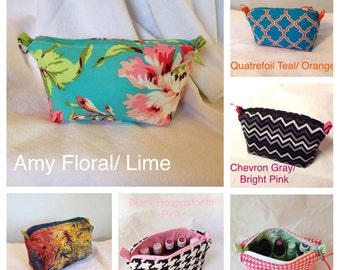 Made to order essential oils purse pouch, holds 10 bottles, 5ml-15ml (.5 oz)