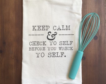 Check Yo Self Flour Sack Tea Towel