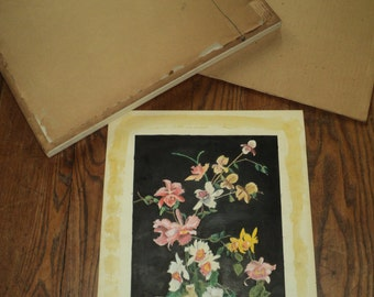 Vintage Original Watercolor Floral Still Life  Painting on  a black tempura paint background, Professionally Framed by Foreman Art Store, IL