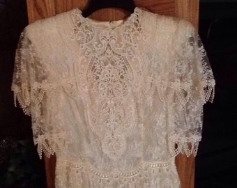 Vintage, Jessica McClintock lace bridal dress, wedding, cream colored