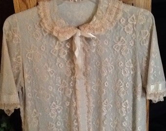Vintage lace negligee, blue, lingerie long, floor length