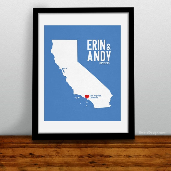 California Personalized Wedding Art, State Map Print, Bride & Groom Names and Date, Any State Available, Choice of Colors