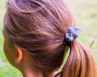 Mouse Mice Hair Tie Cute Grey Felted Wool Bobble Elastic Loop For Ponytail