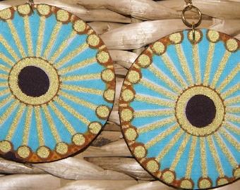 Fabric Covered Wood Earrings-Starburst