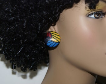 Fabric Covered Button Earrings- YBR Abstract
