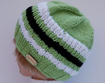 Hand knit hat, green striped hat, pale green hat, knit striped beanie, stripe green beanie, light green hat, women's hat, organic fiber hat