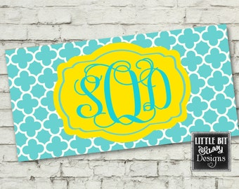 License Plate Turquoise Monogrammed Car License Plate Quatrefoil Initial