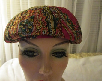 1960's Ladies Silk Red Print BERET  HAT by Irene of New York for I.Magnin & Co.