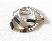 Stack Bracelet : Dyed Riverstones, Matte Onyx and Brass Bracelet, wrist candy, arm candy, for her, summer jewelry