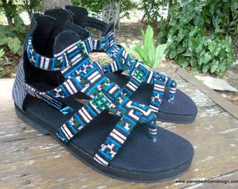 Boho Womens Sandals Gladiators In Teal And Green Hmong Embroidery Vegan Summer Shoes - Isadora