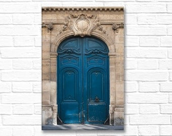 Paris Photography on Canvas - The Blue Door, Gallery Wrapped Canvas, Architectural Urban Home Decor, Large Wall Art