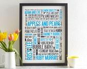 Cockney Rhyming Slang Screen Print - Blue