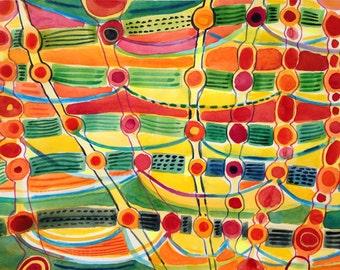 Crazy Rhythm in Orange, original abstract watercolor