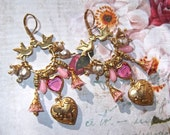 Charm Holder Chandelier Earrings With Vintage Swarovski Heart Connector, Pink Lucite Flowers, Drops & Heart