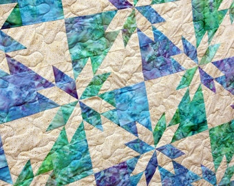 Hunters Star Batik Patchwork Quilt by PingWynny