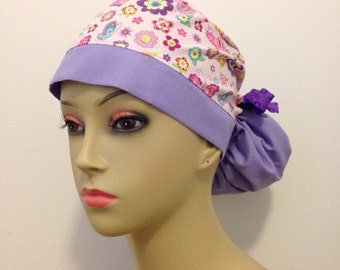 Women's Ponytail Surgical Scrub Hat - Pink and Purple Butterfly Garden