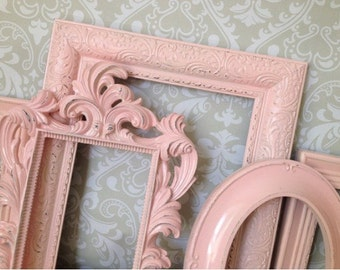 Pink PICTURE FRAMES - Shabby Chic Nursery or Wedding - w/ Glass and Backing