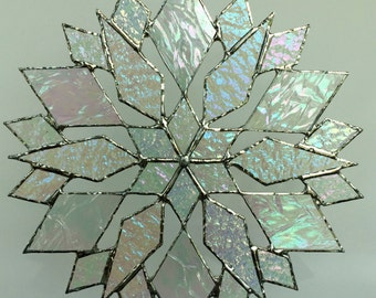 stained glass snowflake suncatcher (design 18B)