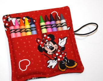 Crayon Rolls Party Favors,  made from Minnie Mouse fabric, holds 10 Crayons, Birthday Party Crayon Roll Favors