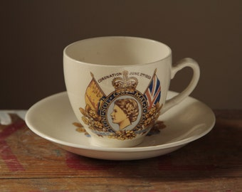 British 1950's Vintage HM Queen Elizabeth II Coronation Teacup and Saucer Royal England Queen Royalty London