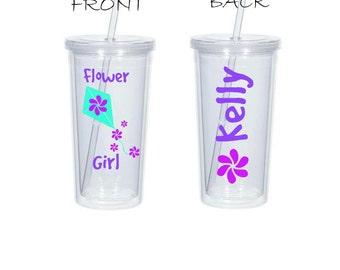 Flower Kite Girl Gift, Flower Girl Tumbler, Flower Girl Cup, Kite Tumbler, Kite Tumbler, Destination Wedding, Kite Cup, Wedding Party