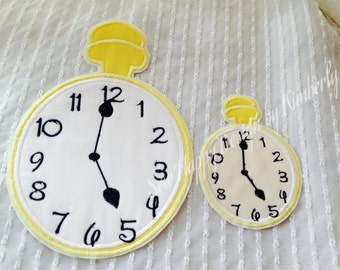 Alice in Wonderland  Inspired Clock Iron on Appliqué Patch