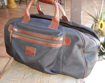 CUTTER & BUCK black nylon and leather travel bag satchel tote DUFFLE
