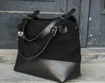 Suede leather big oversize shoulder bag handmade by ladybuq