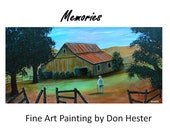 Original landscape old barn painting, fine art decor, home or office, large 48x24 by Don Hester